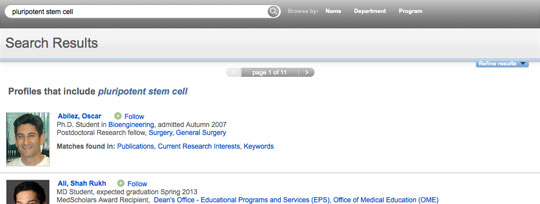 screenshot of CAP search results